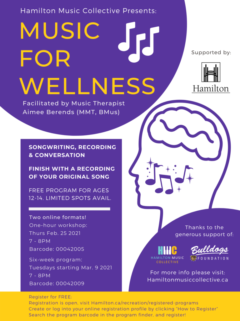 Music for Wellness, facilitated by Aimee Berends.