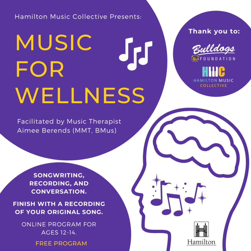 Music for Wellness, facilitated by Music Therapist Aimee Berends.